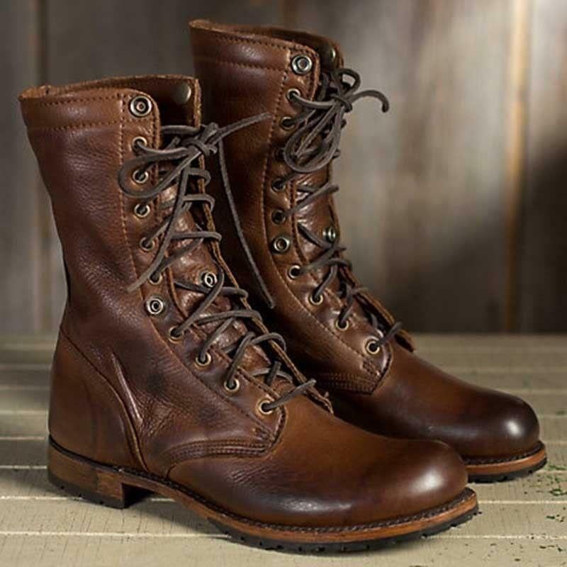 Retro Men's Leather Motorcycle Ankle Boots Military Lace Up Cowboy Punk Shoes