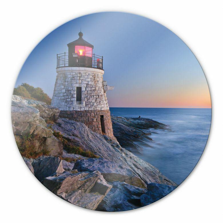 Glasbild rund Sonnenuntergang Meer Sandstrand  Deko Leuchtturm Wandbild Romantik