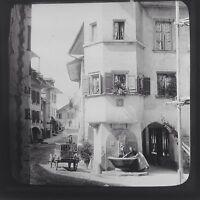 Magic Lantern Slide Vintage Thun Street Scene Switzerland Swiss Social History
