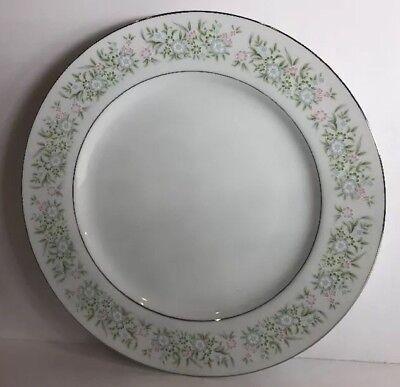 "Concerto 10.5/"" Dinner Plate White decor with Silver Trim Grace Fine China"