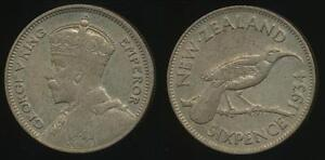 New-Zealand-1934-Sixpence-6d-George-V-Silver-almost-Extra-Fine