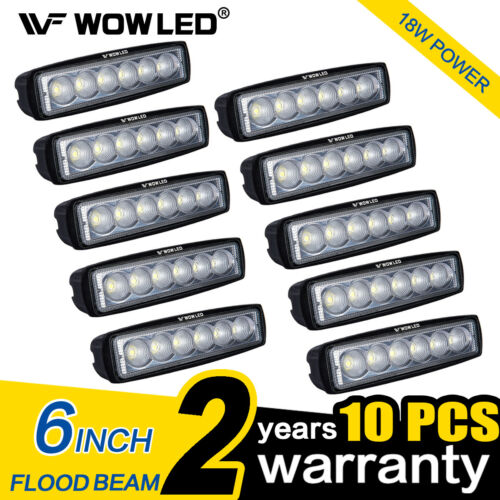 DEL Work Light Offroad conduite Flood Camp Bar Lampe 4x4 ATV Wow environ 15.24 cm 10Pcs 18 W 6 in
