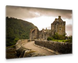 Postereck-Leinwand-0490-Eilean-Donan-Castle-Schottland-Burg-Bruecke-Vintage