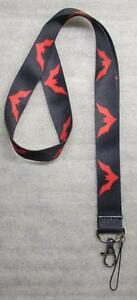 Black-Red-BAT-Batman-LANYARD-KEY-CHAIN-Ring-Keychain-ID-Holder-NEW