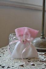 SACCHETTO BOMBONIERA con tela aida ricamo punto croce + fiorellini