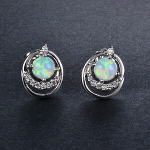 Details About Sweet White Crystal Round Fire Opal Ear Stud Earrings Gold Filled Jewelry