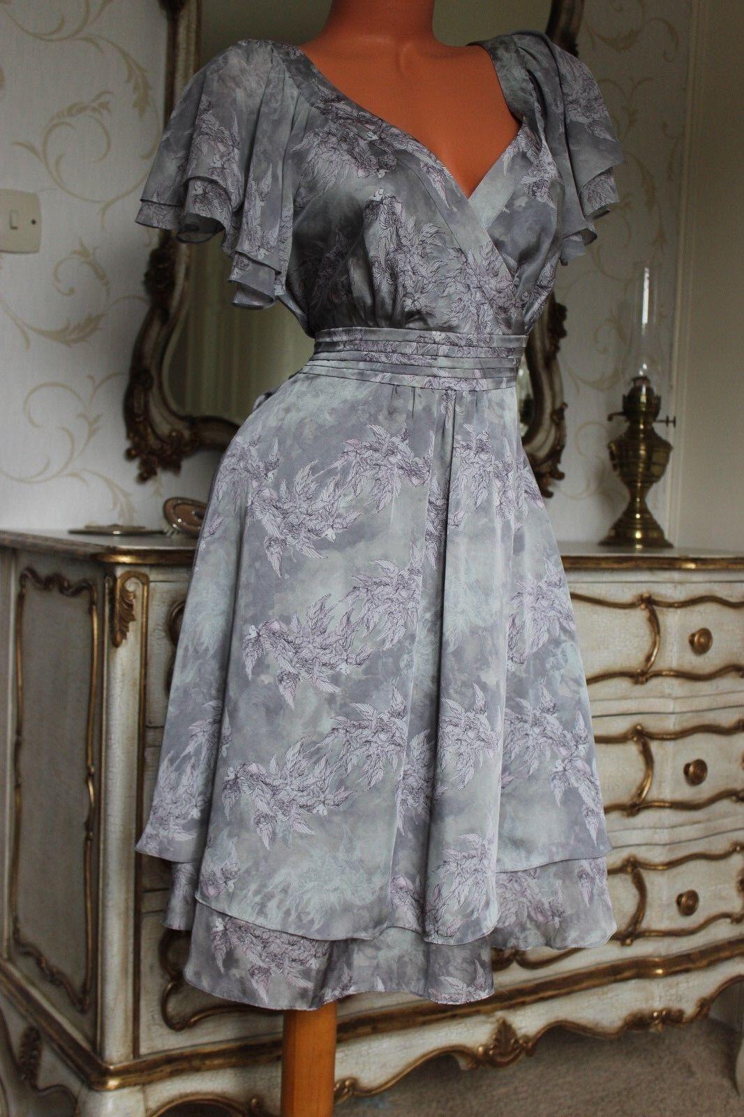 ( Ref 5) DEBENHAMS Grey Mix Cross Bodice Fully Lined Ladies Dress Size 12