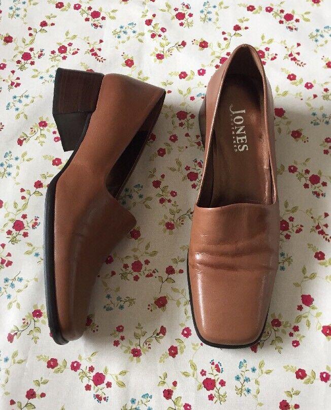 JONES THE BOOTMAKER Size 40 7 Tan Brown Leather Block Heel Slip On shoes Women