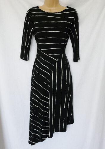 BNWT NEXT black white stripe work evening midi skater stretch asymmetric dress