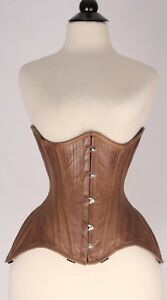 Antique Corset Lace Under Bust Bones Steel Real Pure Leather 2xs~7xl Up Brown rqCUr
