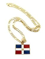 Dominican Republic Flag Pendant &24 Figaro Chain Hip Hop Necklace - Xsp366