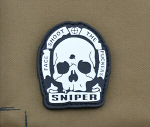 PVC-Rubber-Patch-034-SNIPER-Face-Shoot-the-F-kers-034-with-VELCRO-brand-hook