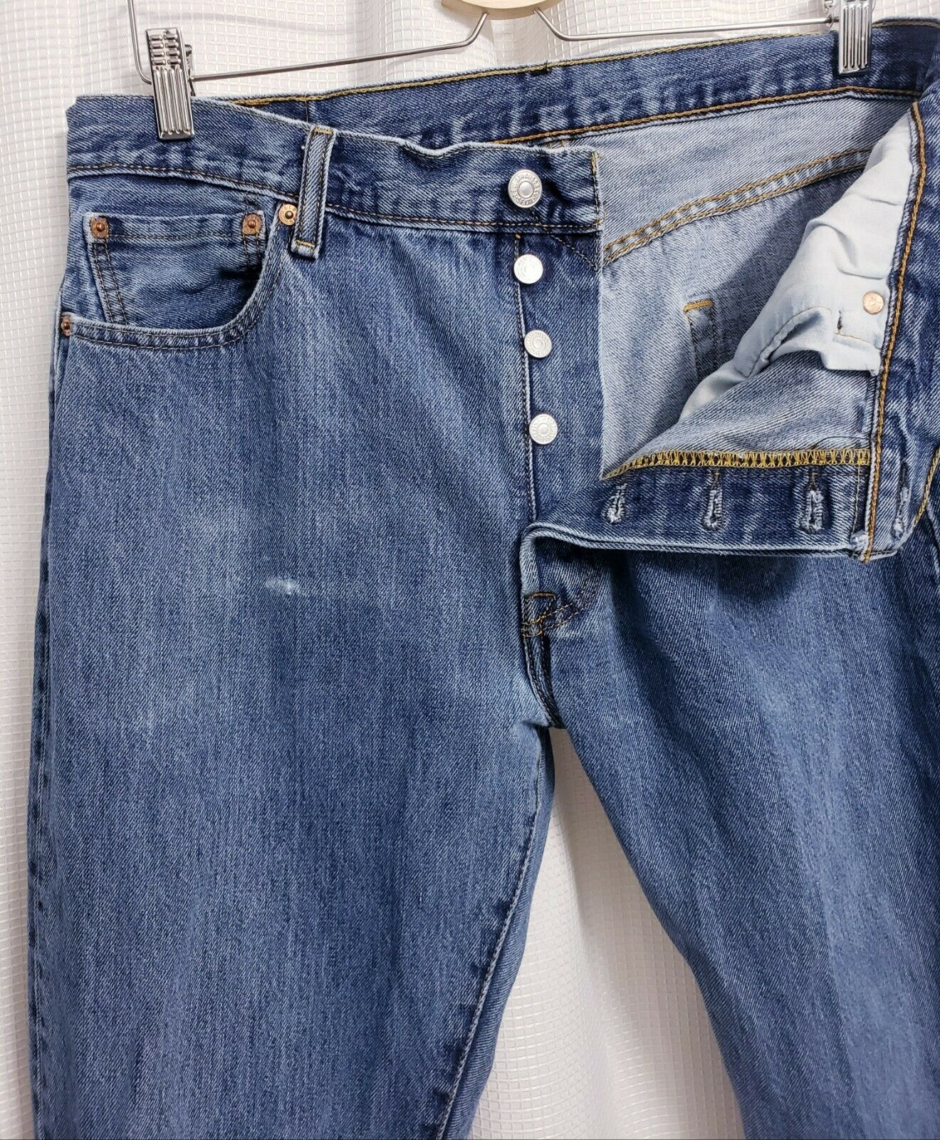 Levis 501 Original Fit Button Fly Distressed Jean… - image 3