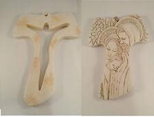 Set 2 Tau crocifisso polvere di marmo San Francesco Assisi e Sacra Famiglia cm14