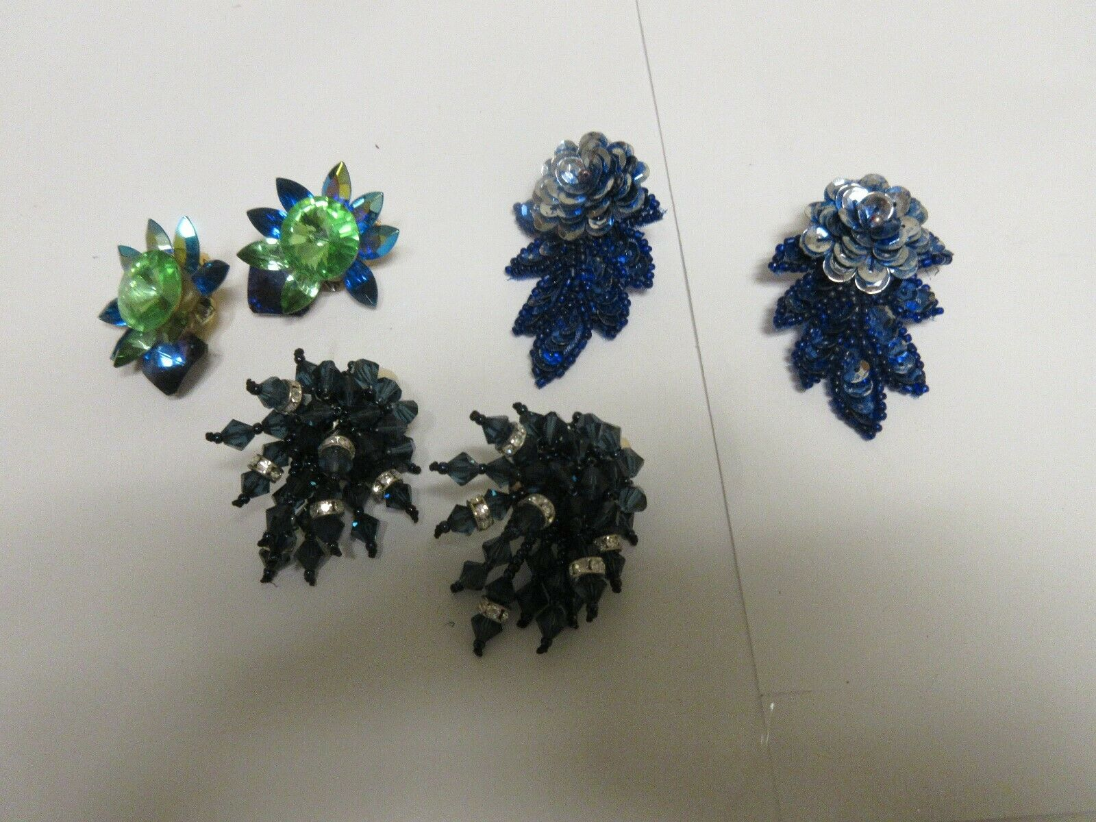Costume Jewelry , Vintage , Earrings , Green , Blue , G