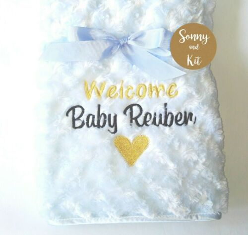 Personalised Baby Boy Girl Gender Neutral Blanket Embroidered Welcome Baby Gift