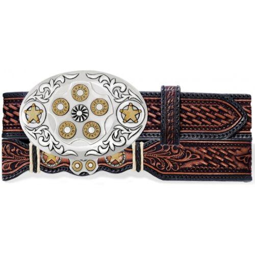 Tony Lama Western Mens Belt Leather Gun Shells Texas Security Star Tan C70214
