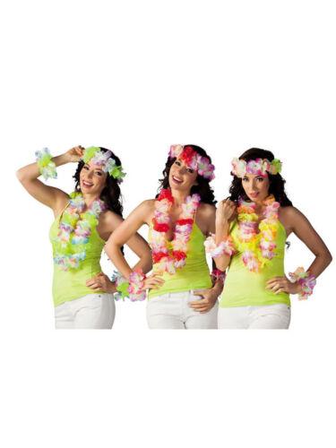 Set Hawaii Blumenkette, Haarband und Armbänder Karneval Fasching