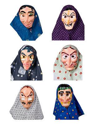 Gesichtsmaske Hexe mit Haar und Kopftuch Karneval Halloween Kostüm Märchen