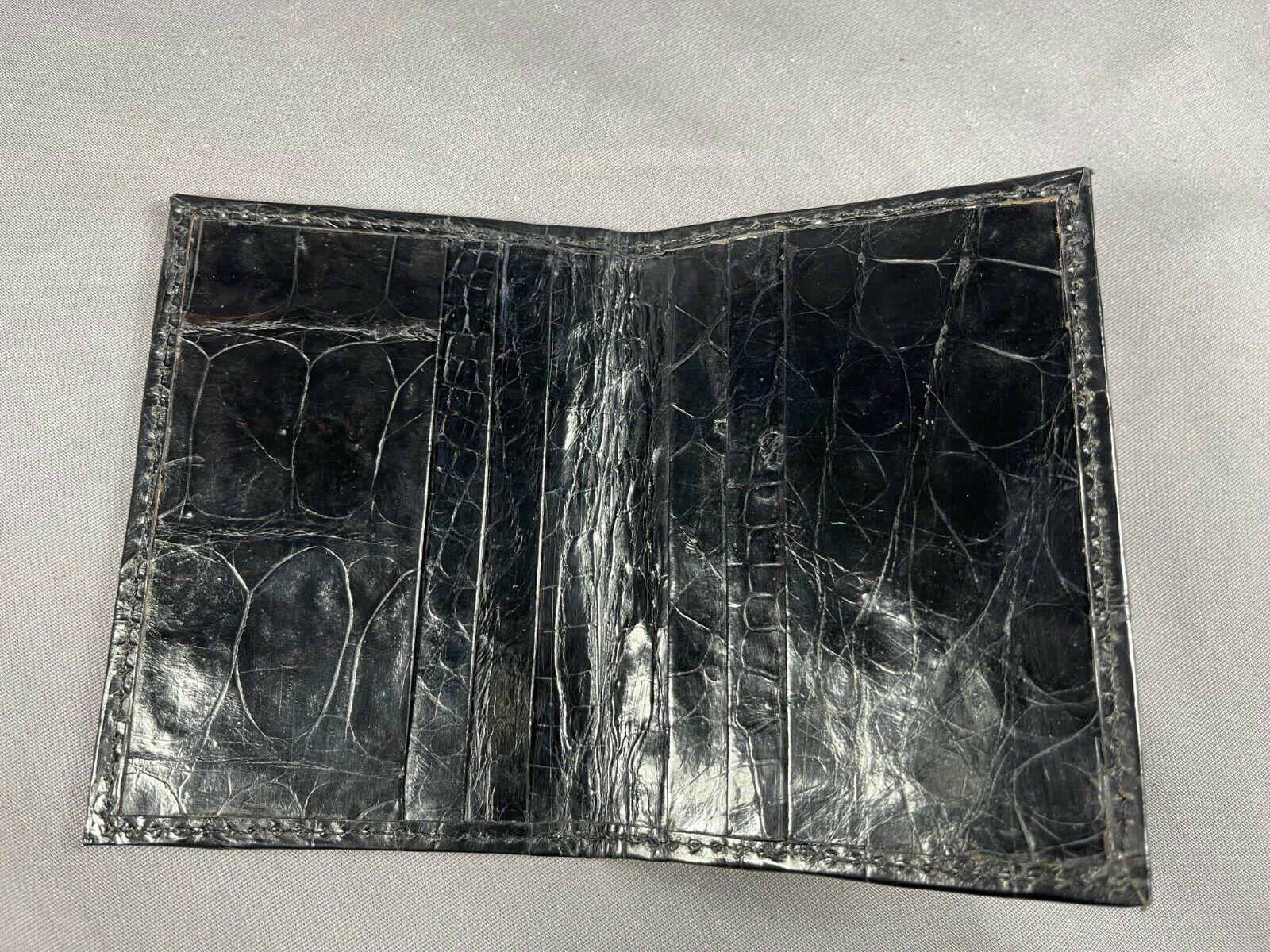 New Handmade Genuine BLACK Alligator /Crocodile Skin Deluxe Card Holder 5