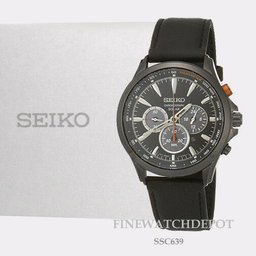 Seiko Ssc639 Solar Chronograph Black Ion Stainless Steel Leather Mens Watch
