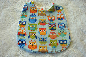 Multi-Coloured-Owls-Blue-Baby-Bib-Cotton-Front-Towelling-Back-Handmade