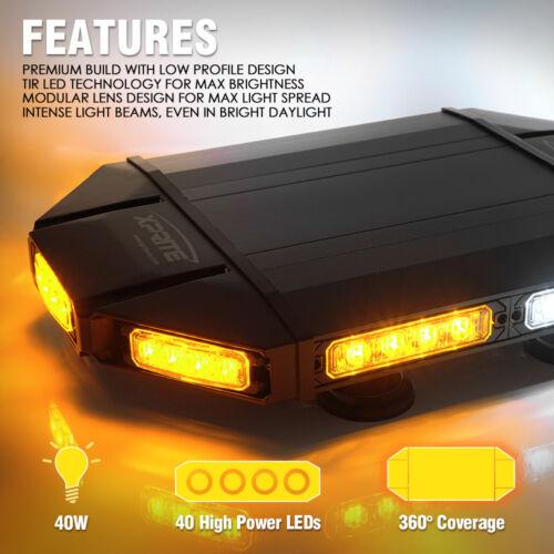 "Black Hawk 18/"" Emergency LED Cab RoofTop Flash Strobe Light Bar White Amber"