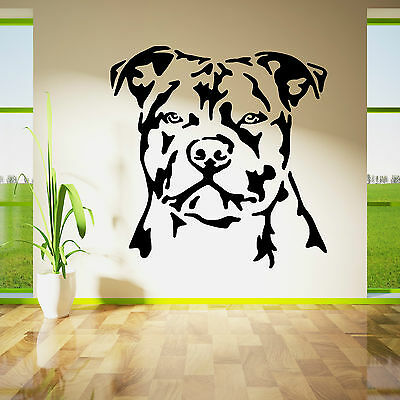 Staffordshire Staffy Personalised Heart Dog Paw custom name vinyl sticker for wall kennel car