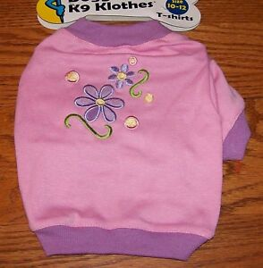 Doggles-Pink-Purple-Flowered-T-Shirt-Size-Small-Size-10-12-Dog-Clothes