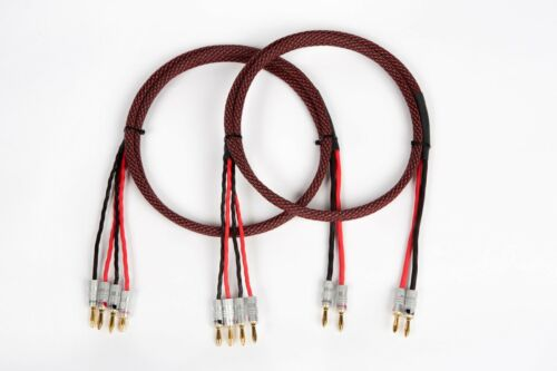 20 Ft. Elite Pure Copper Braided BiWire Speaker Cable 1 Pair 2 to 4 Banana