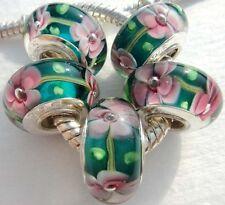 5PCS Silver Single Core Murano Lamp Glass Beads fit European Charm Bracelet A067
