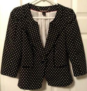 WHBM-White-House-Black-Market-Size-4-Polka-Dot-Blazer-Jacket-3-4-Sleeve