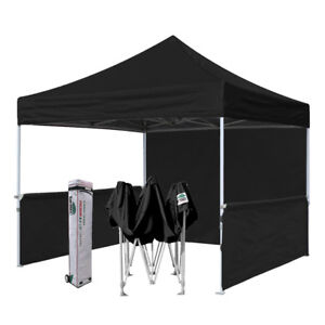 Black 10x10 Outdoor Ez Pop Up Canopy Commercial Vendor Fair Show