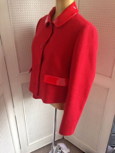 Wool Designer Jacket New Contemporary Moschino Design 12 Sz10 Red Stunning Love gqfFAwn