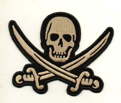 Pirate Skull Swords Bike Rockabilly P827 Embroidered Iron on Patch High Quality