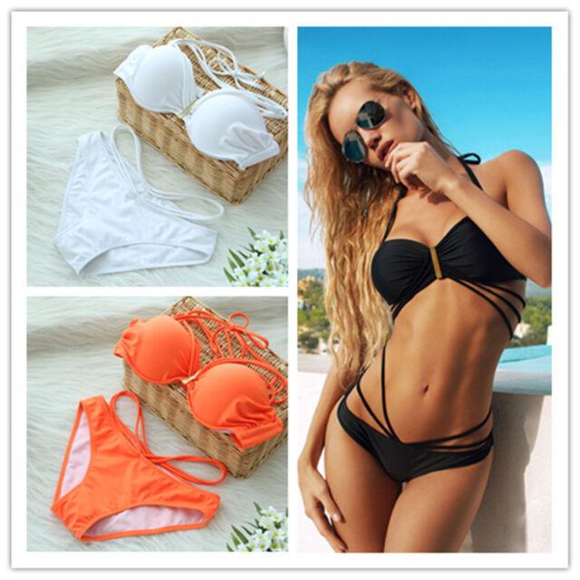 Womens Sexy Bikini Set Bandage Swimwear Push-up Padded Bra Top Bottom Beach suit