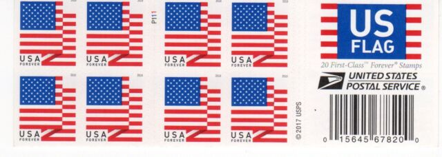One Book Of 20 Us Flag USPS First Class Forever Postage STAMPS