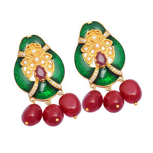 925-Sterling-Silver-Ruby-Cubic-Zirconia-Gemstone-Gold-Plated-Handmade-Earring