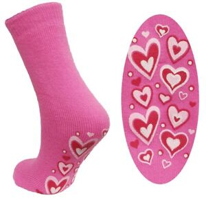1 Pair Ladies Super Soft Non-Slip Thermal Socks, Hot Pink Hearts, Size 4-5½