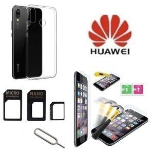 Cover-Silicone-Trasparente-per-Huawei-P30-Lite-Pellicola-Vetro-e-Adattatore-Sim
