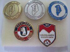 b1 lotto 5 spille GRONLAND football federation association team pins lot