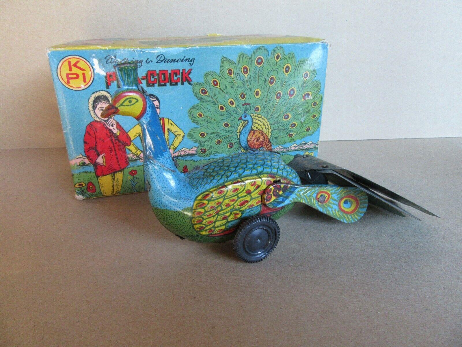 791K Zeldzame Toy Old Mechanical in Sheet Metal Kpi Pea-Cock