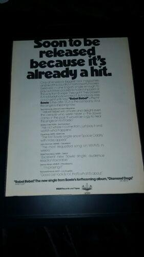 David Bowie Rare Original Rebel Rebel Promo Poster Ad Framed!
