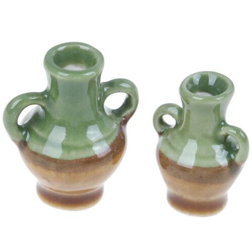2Pcs//set 1:12 Dollhouse Miniature Ceramic Flower Vase Doll House Accessories PL
