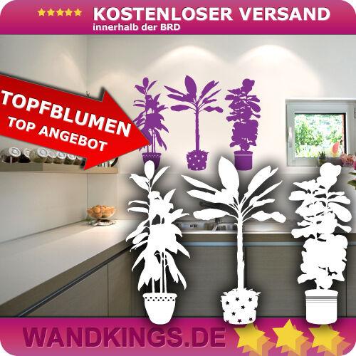Wandtattoo Topfblumen Blumen Pflanzen Blümchen 50x37cm