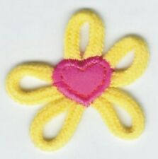 "2.25"" Yellow Pink Shoe Lace Flower patch applique"