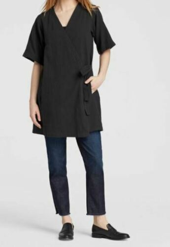 a manica M con Eileen Kimono organico maniche Fisher cotone corte con nera collo V in xqaxAYCwR