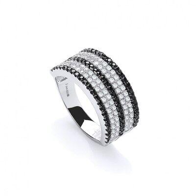 Details about  /Wide Gemstone Band Ring Solid Silver Dazzling Cocktail 925 Hallmarked J Jaz