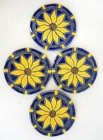 Sunflower Coasters Mosaic Ceramic Tile Handmade Cobalt Blue / Yellow Set Of 4