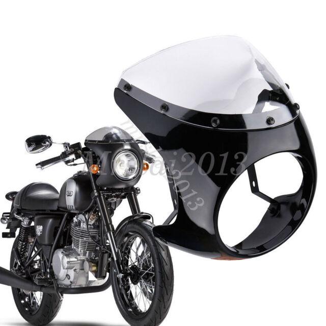 "Gloss Black 7"" Headlight Fairing Retro Cafe Racer Handlebar & Screen Windshield"